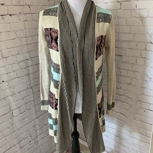 Belldini open front cardigan with Aztec design